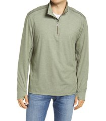 men's tommy bahama island active half-zip sweatshirt, size small - green