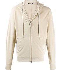 tom ford zipped hooded sweatshirt - neutrals