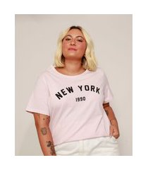 "camiseta feminina plus size new york"" manga curta rosa claro"""