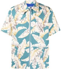 anglozine feather-print zip-up shirt - blue