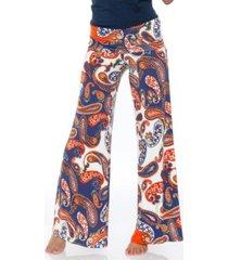 white mark navy orange white printed palazzo pants