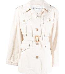 acne studios multi-pocket belted jacket - neutrals