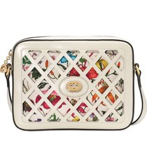 gucci small cutout flora shoulder bag - white