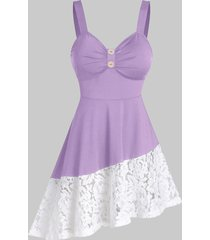 button lace panel irregular a line dress