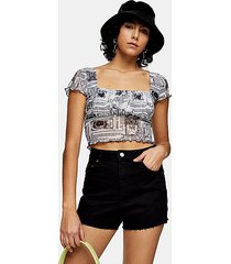 premium black denim mom shorts - black