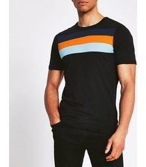 mens jack and jones black stripe blocked t-shirt