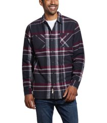 weatherproof vintage men's flannel sherpa lined plaid shirt jacket