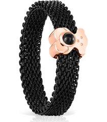 anillo estrecho real sisy de acero ip negro y plata vermeil rosa con onix