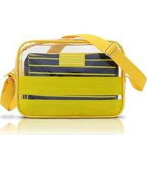 bolsa transversal com 2 peças jacki design felicita amarelo