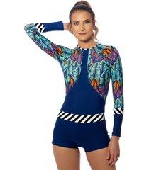 macaquinho kalini beachwear long colorful