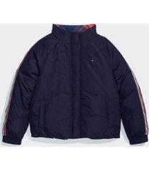 tommy hilfiger girl's adaptive reversible puffer jacket evening blue/multi - xs