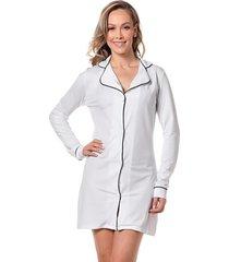 pijama feminino chemise manga longa botão macio homewear