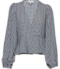 printed crepe blouse lange mouwen blauw ganni