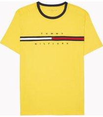 tommy hilfiger men's adaptive organic cotton logo stripe t-shirt lemon - xxl