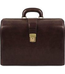 tuscany leather tl141347 canova - borsa medico in pelle 3 scomparti testa di moro