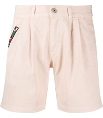 mr & mrs italy embroidered patch cotton blend bermuda shorts - pink