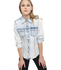 blusa ellus denim bleach  celeste - calce regular