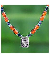 multi-gemstone beaded pendant necklace, 'tangerine love' (thailand)