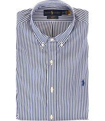 man white and blue striped poplin slim fit shirt
