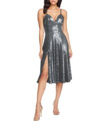 women's dress the population mimi sequin cocktail dress, size xx-small - metallic