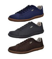 kit masculino 3 pares sapatênis casual polo blu azul/preto/café
