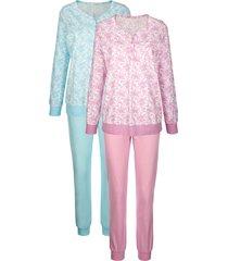 pyjama's per 2 stuks harmony lichtroze::turquoise::ecru