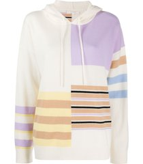 chinti and parker panelled knitted hoodie - neutrals