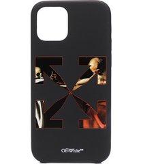 off-white caravaggio iphone 12/12 pro case - black