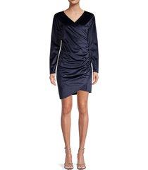 lea & viola women's gathered wrap dress - navy - size l