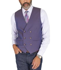 tayion collection men's classic-fit blue & tan jacquard reversible double-breasted vest