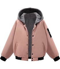 cappotti imbottiti per donna casual con stampa patchwork con cappuccio