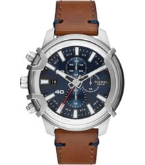 diesel men's chronograph griffed brown leather strap watch 48mm
