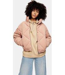 pink corduroy padded puffer jacket - pink