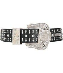 philipp plein oversized buckle belt - black