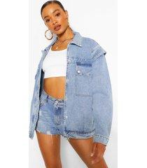 folded shoulder detail jean jacket, mid blue