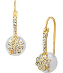 city of lights 14k gold vermeil, 12mm freshwater pearl & crystal drop earrings