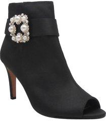 women's j. renee pranati embellished open toe bootie, size 8.5 b - black