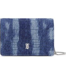 burberry quilted denim strap card case - blue