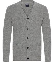 anf mens sweaters gebreide trui cardigan grijs abercrombie & fitch