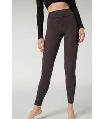 calzedonia ribbed leggings with cashmere woman grey size m