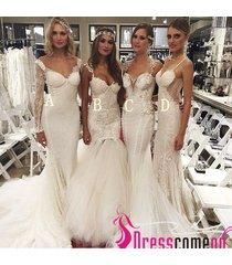 vintage wedding dress mermaid sleeveless sheer lace white tulle brides dresses