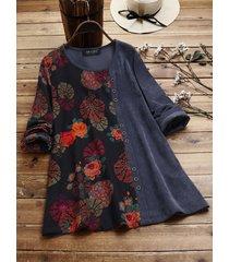 camicetta in velluto a coste manica lunga con scollo a o con stampa floreale