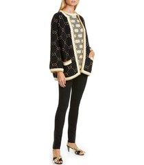 women's gucci gg metallic jacquard wool blend cardigan, size medium - black