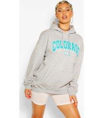 colorado slogan extreme oversized hoodie, grijs gemêleerd