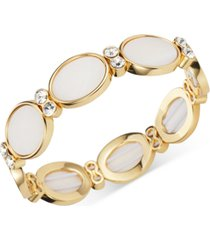 charter club gold-tone crystal & oval shell stretch bracelet, created for macy's