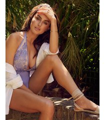 amber davies cilicia deep plunge one-piece swimsuit