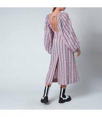 ganni women's maxi dress - pink nectar - l