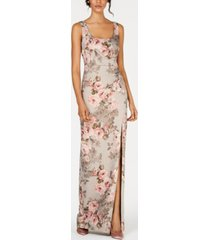 adrianna papell metallic floral-print gown