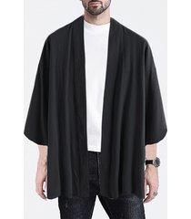 incerun hombres casual algodón liso protector solar abrigo holgado cárdigan
