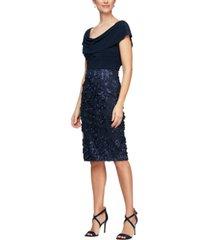 alex evenings cowlneck 3d-flower-skirt sheath dress